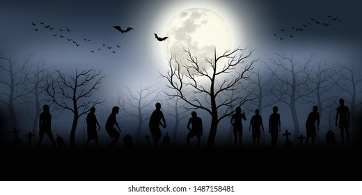 crowd of hungry zombies in the woods. Silhouettes of scary zombies walking in the forest at night. Spooky forest with full moon and grave.