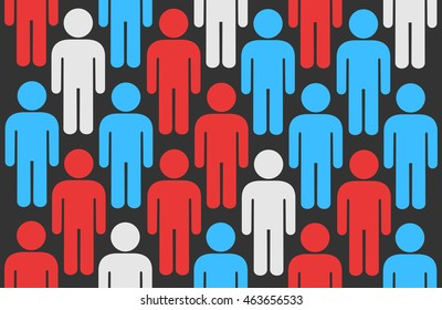 Crowd of icons of men s metaphor of electors during elections, pre-election surveys and opinion poll. Colors symbolize opposition and undecided voters