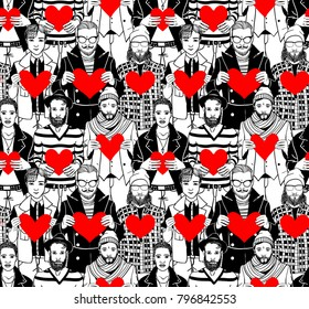 Crowd of men holding hearts in hands. Seamless pattern.