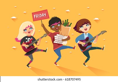 "Crowd of multicultural girls going to the party. Youth lifestyle. Happy young girls with guitars and packages of beer, pizza and ""Party"" placard. Colorful vector illustration in flat style"