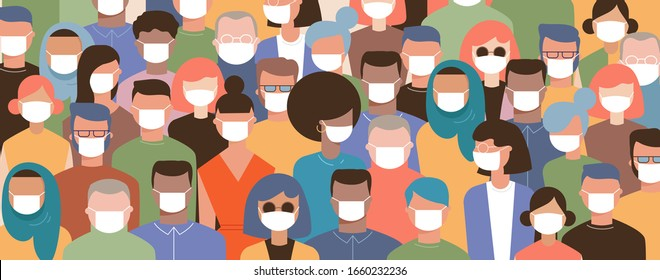 Crowd on the street wearing masks to prevent disease, coronavirus, flu, air pollution, contaminated air, world pollution. Vector illustration