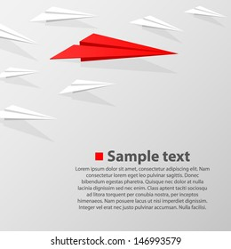 Crowd of paper airplanes with a leader red, Vector infographic illustration