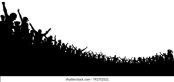Crowd of people applauded. Sports fans. Fans at the concert. Applause audience. Ð¡heerful clapping party