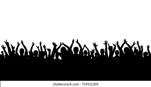 Crowd of people applauding silhouette