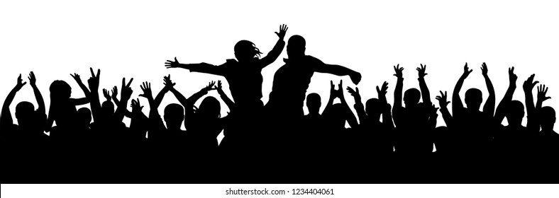 Crowd of people applauding silhouette vector. Couple at a party,concert. Cheer audience applause