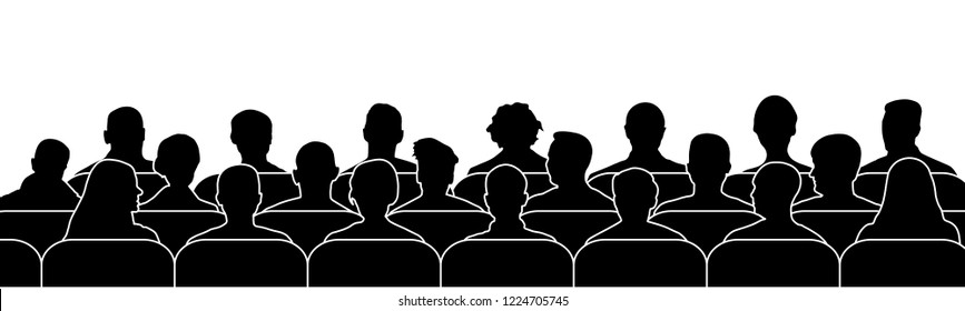 Crowd of people in the auditorium. Audience cinema, theater. Public presentation, anonymous faces. silhouette vector isolated