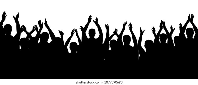 Crowd people cheering, cheer hands up. Applause audience. Cheerful mob fans applauding, clapping. Vector silhouette concert