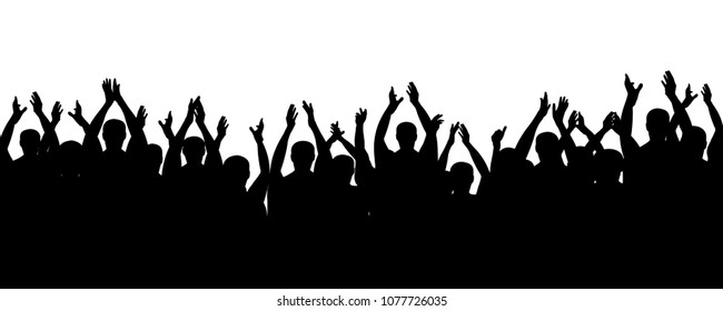 Crowd people cheering, cheer hands up. Applause audience. Spectators theater. Cheerful mob fans applauding, clapping. Party, concert, sport. Vector silhouette