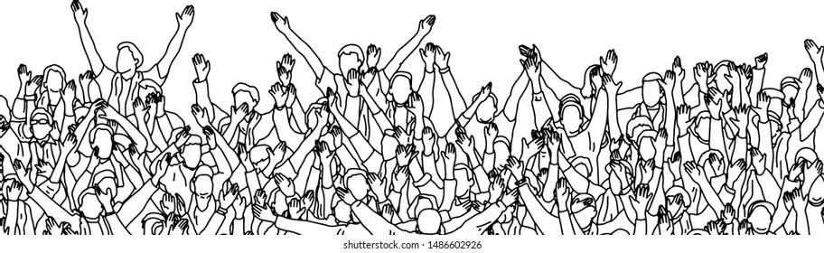 Menschenmenge, die ihr Lieblingssportteam auf Stadion-Vektorillustration anfeuert, Skizze mit schwarzen Linien einzeln auf weißem Hintergrund.