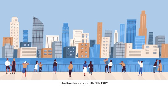 Crowd of people with children at waterfront looking at modern city panorama. Women and men admiring cityscape. Megapolis panoramic view. Flat vector cartoon colorful illustration