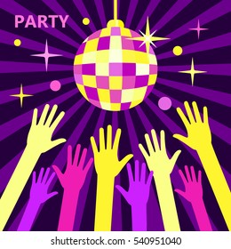 A crowd of people dancing in a nightclub or disco, arms raised up to the sparkling disco ball. Concept for parties and music festivals. Shining disco ball, flat vector illustration Bright party.