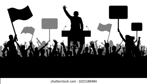 Crowd of people demonstrating silhouette. Oratory art, politics, revolution, takeover. Demonstration isolated on white background, vector. People with banner, transparency, and flags