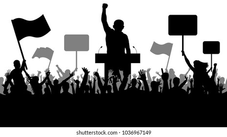 Crowd of people demonstrating silhouette. Oratory art, manifestation, politics, revolution,strike, takeover. Demonstration isolated on white background, vector. People with banner, transparency, and f