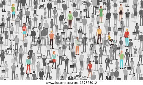 Crowd of people with few individuals highlighted, individuality and diversity concept