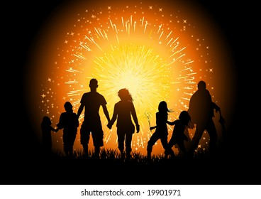 A crowd of people at a firework display. Vector Illustration