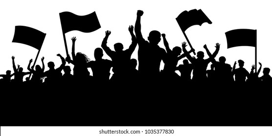 Crowd of people with flags, banners. Sports, mob, fans. Demonstration, manifestation, protest, strike, revolution. Silhouette background vector