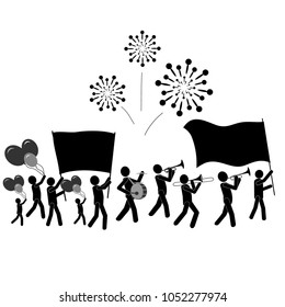 Crowd of People with Flags & Pacards, Balloons, Salutes & Music on Parade. Stick Figure Pictogram Icon