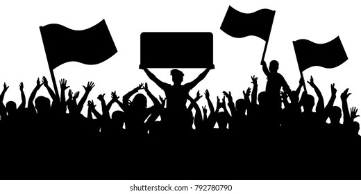 Crowd of people with flags silhouette background. Sports fans.