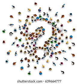 A crowd of people in the form of a question symbol on a white background. Vector illustration