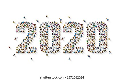 A crowd of people in the form of year 2020 on white background. Vector illustration