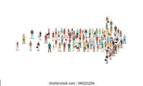 Crowd of people gathered in an arrow shape, leadership, choice and direction concept
