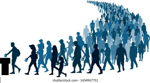 Crowd of people go to the polls to vote. Referendum Silhouette Vector