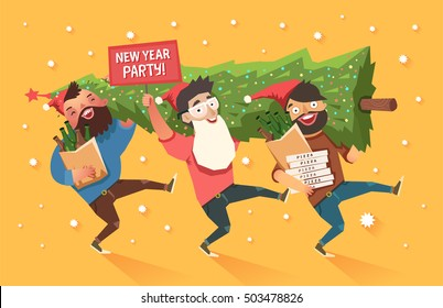 "Crowd of people going to the New Year and Christmas party. Youth lifestyle. Three happy young men with packages of beer, pizza and ""Party"" placard. Colorful vector illustration in flat style"
