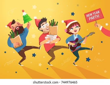 "Crowd of people going to the New Year party. Youth lifestyle. Happy young boys and girl with guitar, loudspeaker and packages of beer, pizza and ""Party"" placard. Colorful vector illustration"