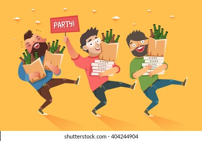 "Crowd of people going to the party. Youth lifestyle. Three happy young men with packages of beer, pizza and ""Party"" placard. Colorful vector illustration in flat style"