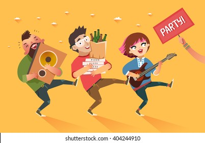 "Crowd of people going to the party. Youth lifestyle. Happy young boys and girl with guitar, loudspeaker and packages of beer, pizza and ""Party"" placard. Colorful vector illustration in flat style"