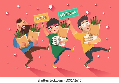 "Crowd of people going to the party. Youth lifestyle. Happy young guys and girl with packages of beer, pizza and ""Party"" placard. Colorful vector illustration in flat style"
