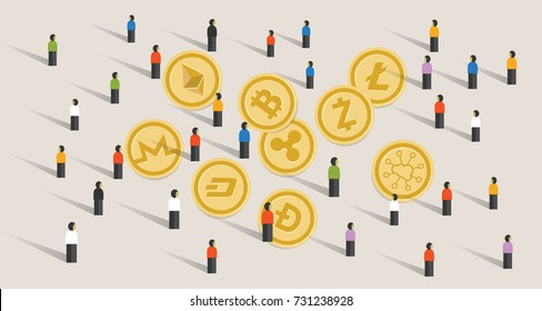 crowd people hype together crypto-currency coin set bitcoin digital currency virtual money exchange finance illustration vector