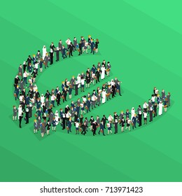 Crowd people isometric euro sign with crowd of people on a green lawn large or flashmob vector illustration