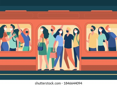 Crowd of people in masks standing in subway train. Public transport, passengers, commuters flat vector illustration. Covid, epidemic, protection concept for banner, website design or landing web page