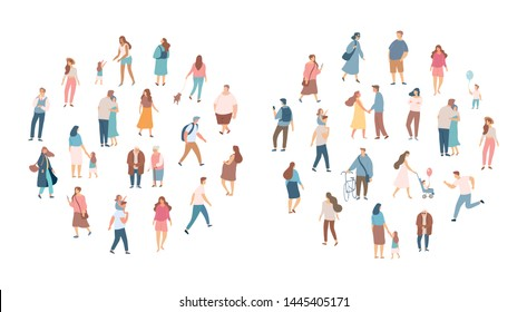 Crowd of people. Men and women flat vector set. Different walking and running people. Outdoor. Male and female. Flat vector characters isolated on white background.  - Shutterstock ID 1445405171
