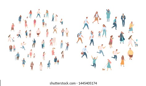 Crowd of people. Men and women flat vector set. Different walking and running people. Outdoor. Male and female. Flat vector characters isolated on white background.  - Shutterstock ID 1445405174