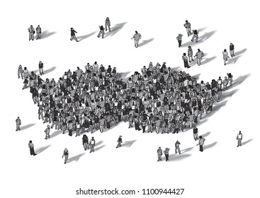 crowd people moustache symbol black and white isolate