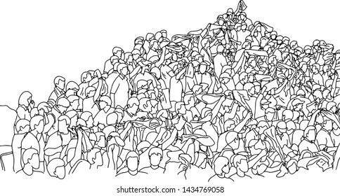 crowd of people on stadium with copyspace vector illustration sketch doodle hand drawn with black lines isolated on white background