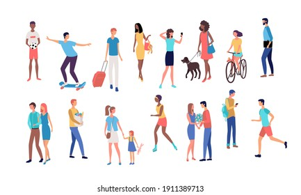 Crowd of people performing spring, summer outdoor activities - dog walking, cycling, skateboarding, soccer, running, walking, selfie. Group of flat cartoon men and women isolated on white background.