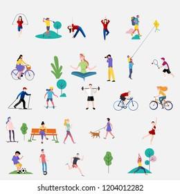 Multitud de personas realizando actividades al aire libre de verano - perros para caminar, montar en bicicleta, patinaje. Grupo de personajes de caricaturas planos masculinos y femeninos aislados en fondo blanco. Ilustración vectorial.