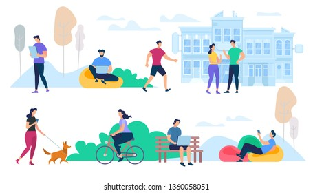 Crowd of People Performing Summer Outdoor Activities. Walking Dogs, Riding Bicycle, Communicating. Group of Male and Female Characters Isolated on White Background. Cartoon Flat Vector Illustration.