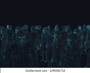 A crowd of people from polygonal contours. Wireframe people standing in a different position. The contours of people on a dark background. Vector illustration.