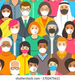Menschenmenge in medizinischen Schutzmasken. Verbreitung des Coronavirus von Mensch zu Person Prävention. Atemwege tragen, um eine Covid-19-Infektion zu verhindern. Koronavirus-Pandemie. Globale Quarantäne