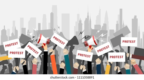 Crowd of people protesters. Flat vector illustration.