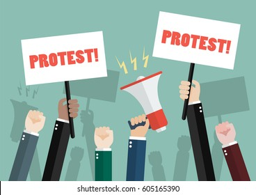 crowd of people protesters. Vector illustration