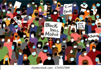 crowd of people protesting, anti racism protest art wallpaper, police violence against black people, Black Lives Matter, mask protest, covid pandemic, group raising banners, hand Illustration, Vector