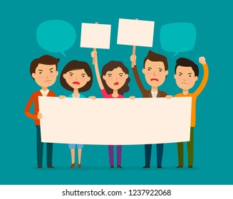 Crowd of people protesting. Protest, outcry, deprecation concept. Cartoon vector illustration