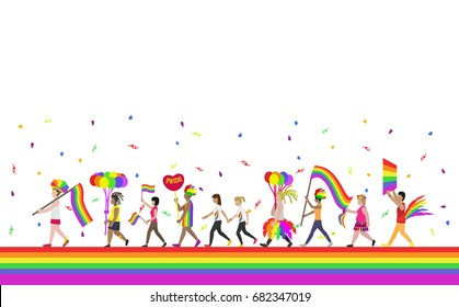 crowd of people with rainbow flags and symbols in pride parade , lgbt , lgbtq cartoon vector