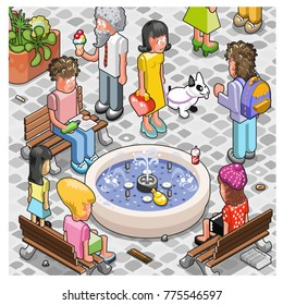 Crowd of people relaxing, eating and talking at a fountain of a plaza (isometric view cartoon)