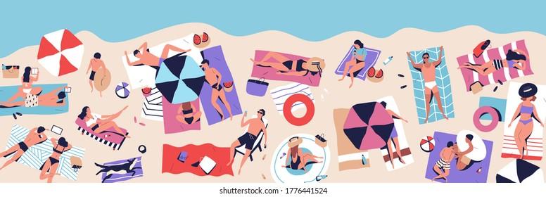 Crowd of people resting on beach enjoy summer vacation vector flat illustration. Man, woman and children sunbathing, applying lotion, sleeping, surfing internet and lying at seashore. Seaside resort